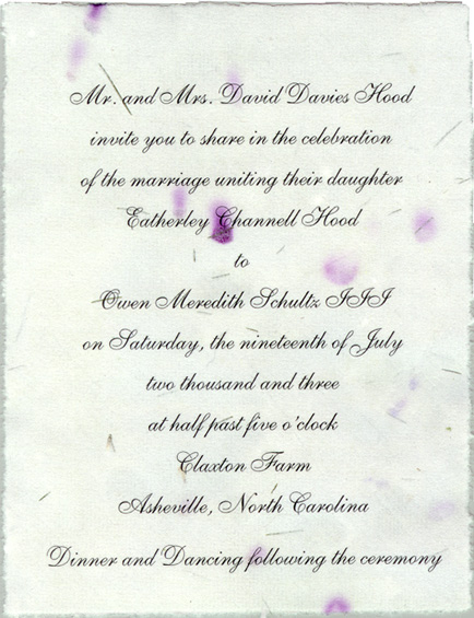 Wedding invitations from handmade paper wedding invitations custom invitation solutioingenieria Choice Image