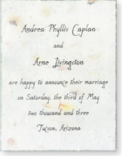 "4.5""x6"" Invitation printed on Handmade Paper"