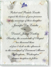 "4.5""x6"" Invitation Printed on Vellum Overlay (paper has bachelor buttons and fern)"