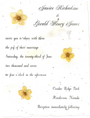 pressed flower wedding invitations handmade paper with real flowers vellum ribbon petals and. Black Bedroom Furniture Sets. Home Design Ideas