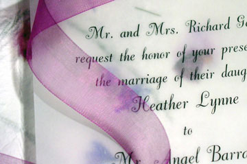 Flower paper invitations with ribbon