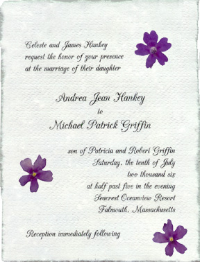Pressed Flower Wedding Invitations Handmade Paper with real